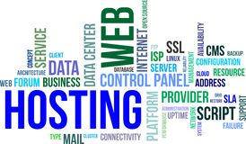 Nuvola di parola - web hosting Fotografia Stock
