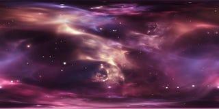Nuvola interstellare del fondo profondo dello spazio cosmico della polvere e del gas con le stelle Nebulosa dello spazio Panorama illustrazione vettoriale