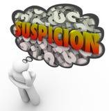 Nuvola Person Thinking di pensiero dei punti interrogativi di parola di sospetto Fotografia Stock Libera da Diritti