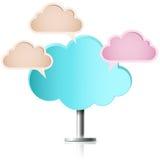 Nuvola a piedi con tre nuvole di discorso Fotografie Stock Libere da Diritti