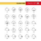 Nuvola SEO Black Line Icon - insieme dell'icona del profilo di 25 affari illustrazione vettoriale