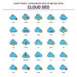 Nuvola SEO Flat Line Icon Set - progettazione delle icone di concetto di affari illustrazione di stock