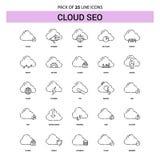 Nuvola SEO Line Icon Set - stile tratteggiato del profilo 25 illustrazione di stock