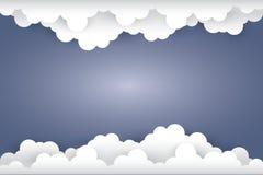 Nuvola su stile blu scuro di arte del documento introduttivo illustrat Immagini Stock