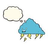 nuvola temporalesca del fumetto con la bolla di pensiero Fotografie Stock