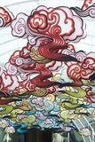 Nuvola variopinta che scolpisce attaccatura di stile cinese della lanterna decorata Fotografia Stock Libera da Diritti
