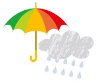 Nuvola variopinta di pioggia e dell'ombrello illustrazione vettoriale