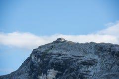 Nuvolau mountain hut on a mountain edge, Cinque Torri, Dolomites, Veneto, Italy Royalty Free Stock Images