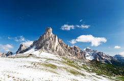 Nuvolau peak after a summer snowfall; passo Giau, Dolomites, Italy Royalty Free Stock Images