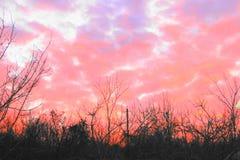 Nuvole ardenti e calde, uguaglianti Fotografia Stock