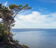 Nuvole blu del mare e del cielo dell'acqua, alta riva Fotografie Stock