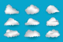 Nuvole che disegnano stile, icona di vettore, illustrazione immagini stock libere da diritti