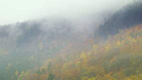 Nuvole che galleggiano sopra le colline di Eifel di autunno in Germania stock footage