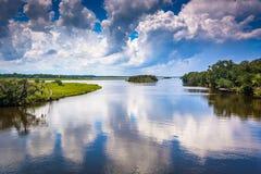 Nuvole che riflettono in Tomoka River, a Tomoka State Park, Flo immagine stock libera da diritti