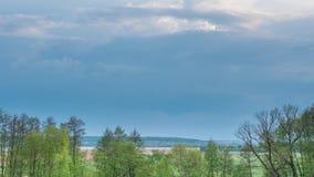 Nuvole che si formano sopra gli alberi, il campo verde e la palude Timelapse della primavera archivi video