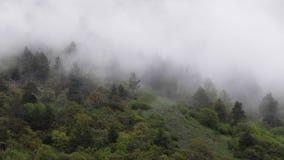 Nuvole che volano fra le montagne stock footage