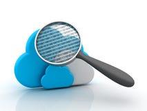 Nuvole con la lente di ingrandimento Immagine Stock