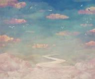Nuvole d'annata e fondo del cielo Immagine Stock Libera da Diritti