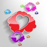 Nuvole del cuore di giorno di biglietti di S. Valentino Immagini Stock Libere da Diritti