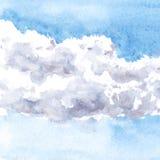 Nuvole del disegno dell'acquerello Fotografie Stock Libere da Diritti