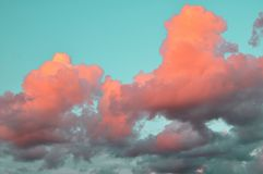 Nuvole dell'aria di colore in tensione di corallo sul cielo blu al tramonto tendenze 2019 del fondo immagine stock