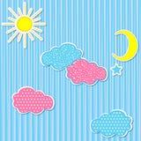 Nuvole della carta del corredo del bambino Fotografie Stock