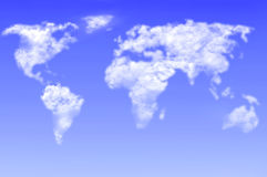 Nuvole della mappa di mondo immagine stock libera da diritti
