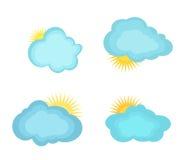 Nuvole delle illustrazioni di vettore ed il sole Fotografia Stock