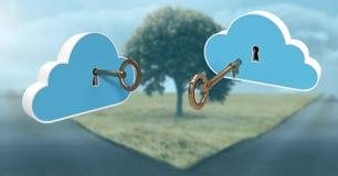 nuvole di chiave 3D che galleggiano sopra le strade di separazione Fotografia Stock Libera da Diritti