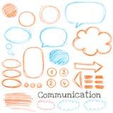 Nuvole di comunicazione dello scarabocchio illustrazione di stock