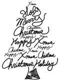 Nuvole di parola dell'albero di Natale di scarabocchio Immagini Stock