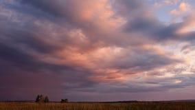 Nuvole di pioggia che investono cielo blu video d archivio