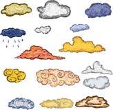 Nuvole disegnate a mano che dipingono arte Immagine Stock