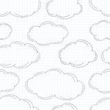 Nuvole disegnate a mano su carta quadrata illustrazione vettoriale