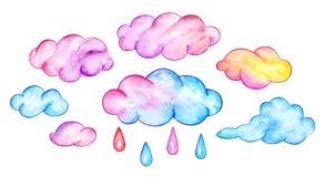 Nuvole e gocce di pioggia multicolori Cielo divertente del fumetto Illustrazione dell'acquerello Fotografia Stock Libera da Diritti