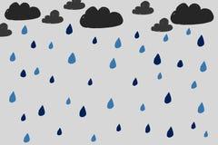 Nuvole e modello disegnati a mano della pioggia illustrazione vettoriale