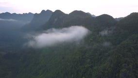 Nuvole e montagna scura della copertura spessa verde della foresta pluviale archivi video