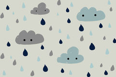 Nuvole e pioggia disegnate a mano royalty illustrazione gratis