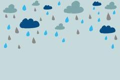 Nuvole e pioggia disegnate a mano illustrazione di stock