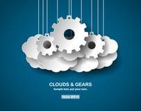 Nuvole ed ingranaggi, concetto astratto, stile carta tagliato Immagini Stock