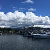 Nuvole lanuginose in porto fotografie stock libere da diritti