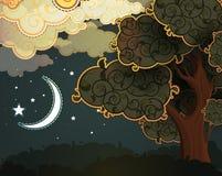 Paesaggio di notte del fumetto Immagine Stock