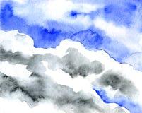 Nuvole molli in cielo blu per fondo Tecniche dell'acquerello Immagine Stock