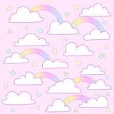 Nuvole rosa del fondo di vettore royalty illustrazione gratis