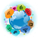 Nuvole sociali del globo di media Illustrazione Vettoriale