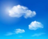 Nuvole su cielo blu. Illustrazione di vettore. Fotografia Stock