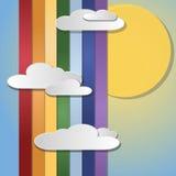 Nuvole su un fondo del sole, del cielo e dell'arcobaleno illustrazione vettoriale