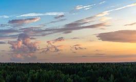 Nuvole sull'orizzonte della foresta Immagini Stock Libere da Diritti