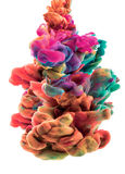 Nuvole variopinte I colori sono caduto underwater Goccia di colore Immagini Stock Libere da Diritti