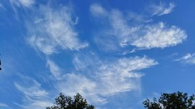 Nuvole ventose su un cielo soleggiato Fotografia Stock